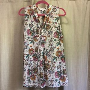 Cabi Floral Tunic Ladies Small Cotton/Silk Floral